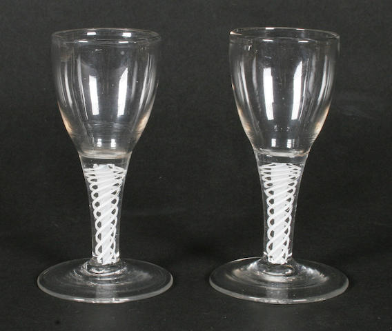 A pair of soda wine glasses Late 18th century