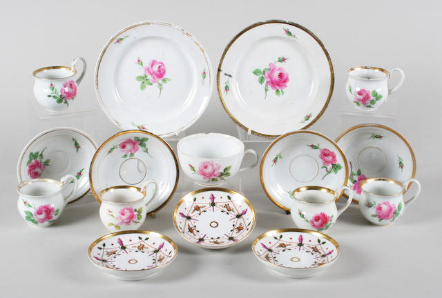 A set of six Meissen custard cups and saucers, another similar cup and matched saucer and three plates