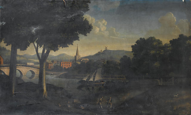 English School, late 18th Century A river landscape with huntsmen in the foreground 86.3 x 141 cm. (