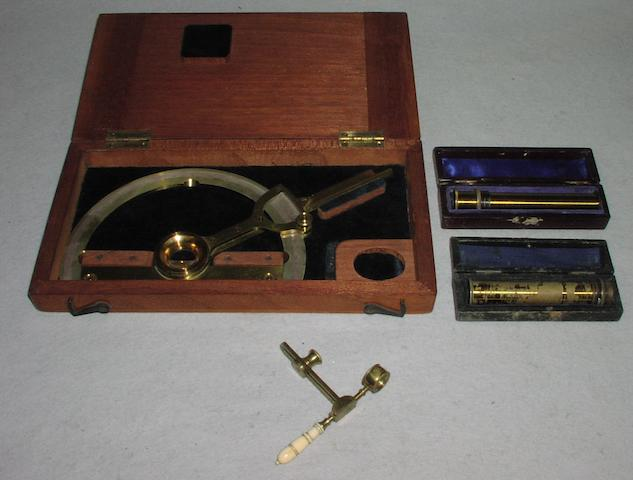 A pocket botanical microscope,  English,  early 19th century, (4)