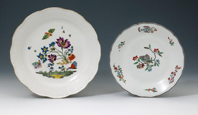 A Meissen plate and a dish circa 1735-40