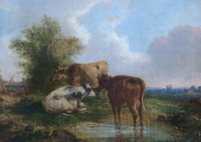 Follower of Thomas Sidney Cooper, RA (British 1803-1902) Cattle resting by a pond