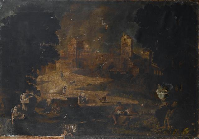 Follower of Pietro Montanini (Perugia 1626-1689) An Italianate landscape 120 x 171 cm. (47¼ x 67 3/8 in.)