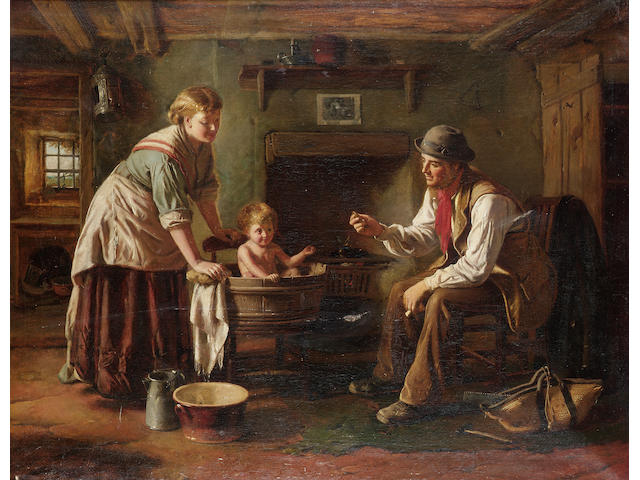 George Augustus Freezor (British, active 1861-1879) Baby's bath time 72 x 92cm (28 1/2 x 36in)