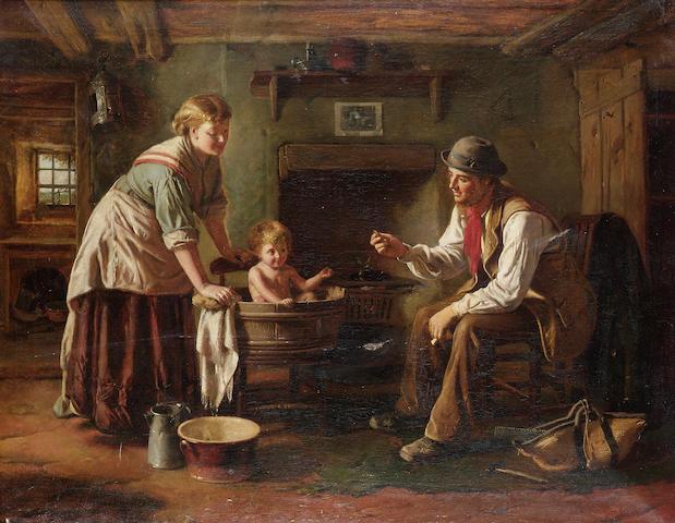 George Augustus Freezor (British, active 1861-1879) Baby's bath time 72 x 92cm (28 1/2 x 36in)