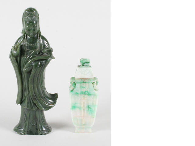 A Jade figure of GuanYin, another in rock crystal and a Jade vase and cover