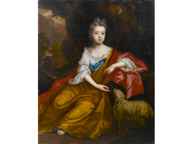 Circle of Sir Peter Lely (Soest 1618-1680 London) Portrait of a young girl as a shepherdess, 124.5 x 101.5 cm. (49 x 40 in.) unframed