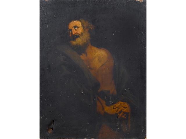 Studio of Giovanni Giacomo Sementi (Bologna 1580-1636 Rome) A male saint 126.8 x 97.5 cm. (49 7/8 x