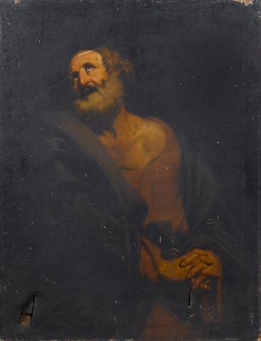 Studio of Giovanni Giacomo Sementi (Bologna 1580-1636 Rome) A male saint 126.8 x 97.5 cm. (49 7/8 x 38 3/8 in.) unframed