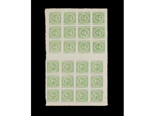 Cinderellas: Railways: GB: Railway Letter Stamps. Glasgow, Barrhead & Kilmarnock Joint Railway 1898 2d. value (R.de Lacy Spencer #5), probably unique proof sheet of twenty four, a little grubby and minor faults around edges. (344)