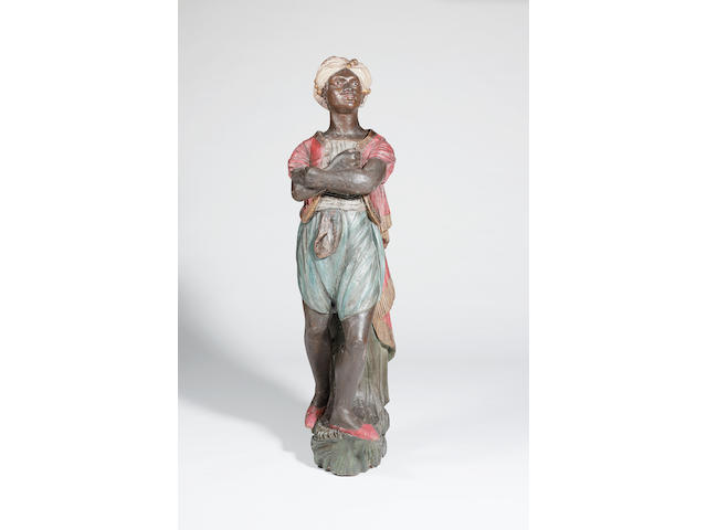 A life-size blackamoor ship's figurehead, mid 19th century 69in high