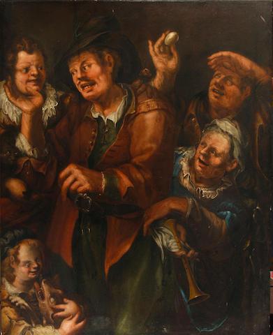 Follower of Bartolomeo Passarotti (Bologna 1529-1592) Peasants merrymaking 130 x 105 cm. (51 1/8 x 4