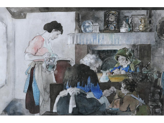 Edmund Blampied (Jersey, 1886-1966) 'Four generations in a Jersey kitchen', 32.8 x 47.8cm.