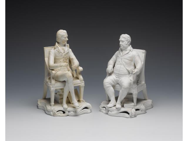 William Pitt (1759-1806); Charles James Fox (1749-1806) Parian ware seated statues, Minton, circa 1830