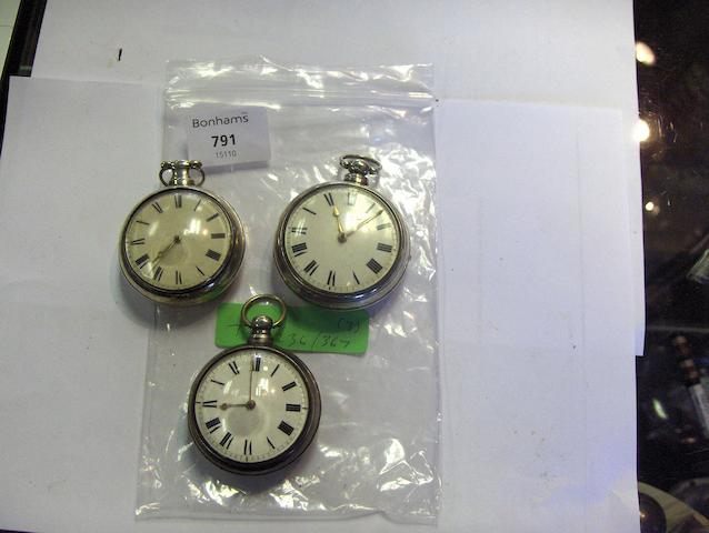 Three early 19th century double-cased silver verge watches, 3