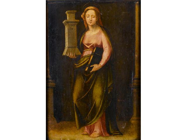 Circle of Paolo da Pistoia, called Fra Paolino (Pistoia 1490-1547) Saint Barbara 84 x 58 cm. (33 1/8 x 22 7/8 in.)