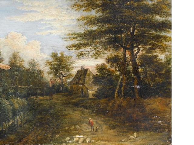 Lucas van Uden (Antwerp circa 1595-circa 1673) A wooded landscape  24.7 x 27.1 cm. (9¾ x 10¾ in.)