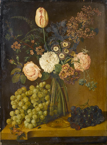 Jan Vos (active Holland, early 19th Century) Irises, roses, a tulip, forget-me-nots and other flowers 52.4 x 39 cm. (20 5/8 x 15 3/8 in.)