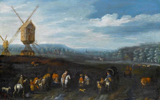 Follower of Jan Brueghel the Elder (Brussels 1568-1625 Antwerp) A wooded landscape 13.4 x 20.4 cm. (5¼ x 8 in.)