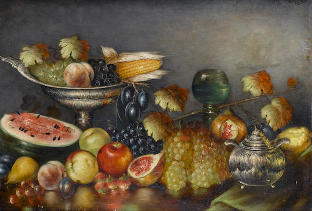 Nicholaos Vokos (Greek, 1859-1902) Still life with fruit and silverware 64 x 93 cm.