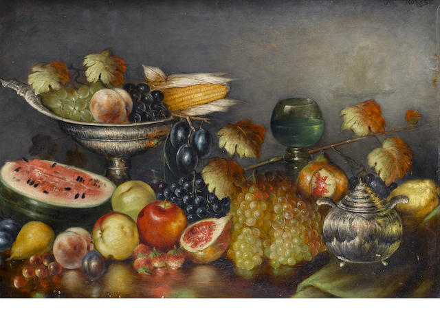 Nicholaos Vokos (Greek, 1859-1902) Still life with fruit and silverware 64 x 93 cm. (25.5 36 5/8 in.