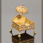 A rare miniature gem-set gold Shrine Southern India, 19th Century