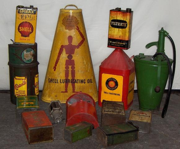 Assorted oil dispensers, racks and cans,