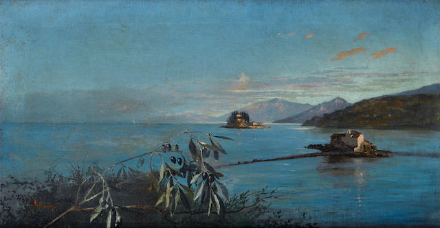 Vikentios Boccheciampe (Greek, 1856-1933) The islands of Pontikonissi and Vlarcherna 36 x 68 cm. (14