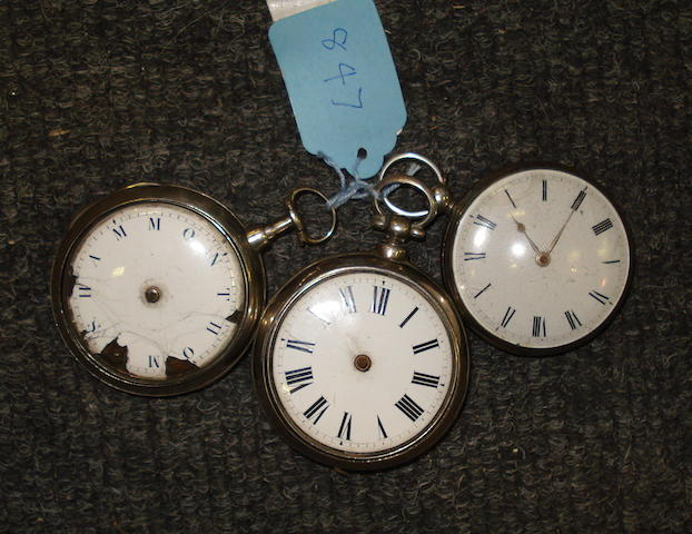 Three George III silver verge watches 3