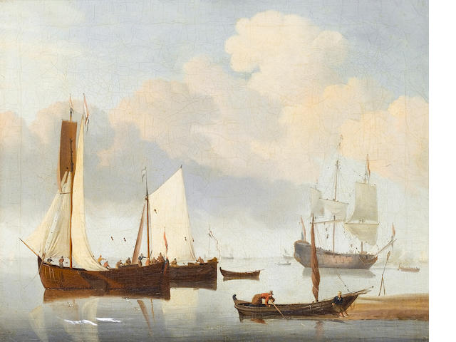 Circle of Willem van de Velde the Younger (Leiden 1633-1707 Greenwich) Dutch shipping in a calm 33.4