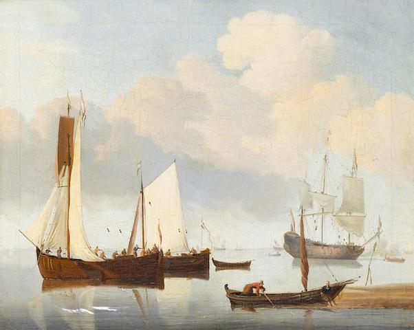 Circle of Willem van de Velde the Younger (Leiden 1633-1707 Greenwich) Dutch shipping in a calm 33.4 x 40.6 cm. (13 1/8 x 16 in.)
