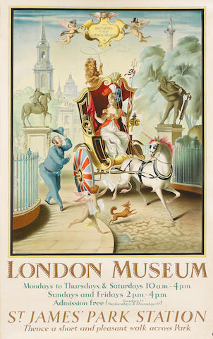 Rex John Whistler (British, 1905-1944) London Museum  1928, printed by Haycock Photochrom, 1015 x 63