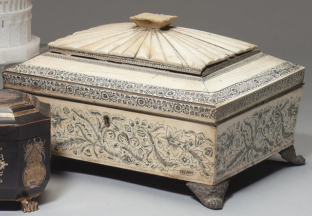 A early 19th Century Anglo-Indian ivory veneered work boxVizagapatam under British patronage, circa 1820-30