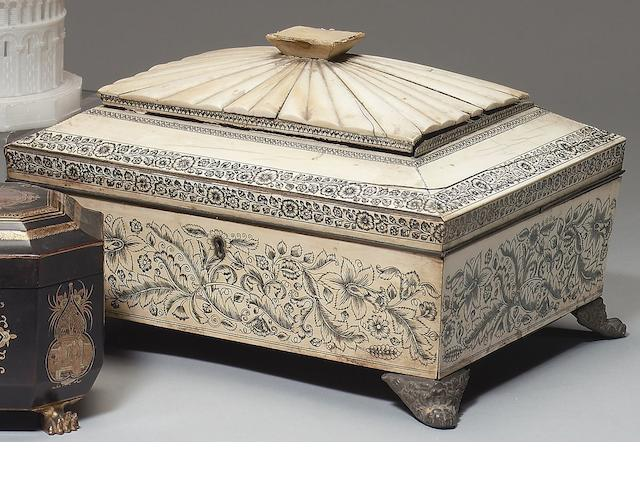 A early 19th Century Anglo-Indian ivory veneered work box Vizagapatam under British patronage, circa 1820-30