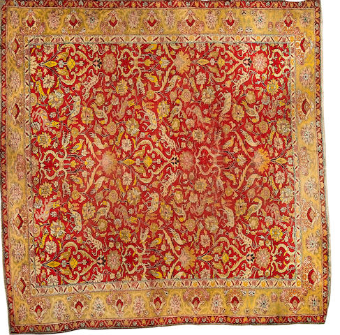 An Amritsar carpet of unusual size North India, 9 ft 1 in x 9 ft 1 in (277 x 277 cm) some minor wear
