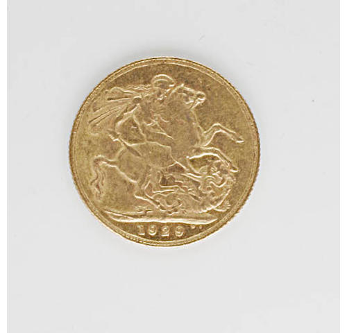Victoria: Sovereign, 1900; Edward VII: five sovereigns, 1902, 1905, 1906, 1909, and 1910; George V: seven sovereigns, 1911, 1912, 1915, 1919, 1928 (x2), and 1929.