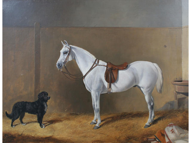 John Alfred Wheeler of Bath (British, 1821-1903) A pale grey hunter and a hound in a stable