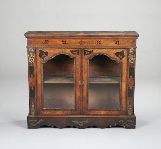 A Victorian walnut and kingwood side cabinet