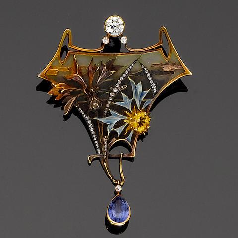 An art nouveau gold, enamel, sapphire and diamond brooch/pendant,  by Gautrait,
