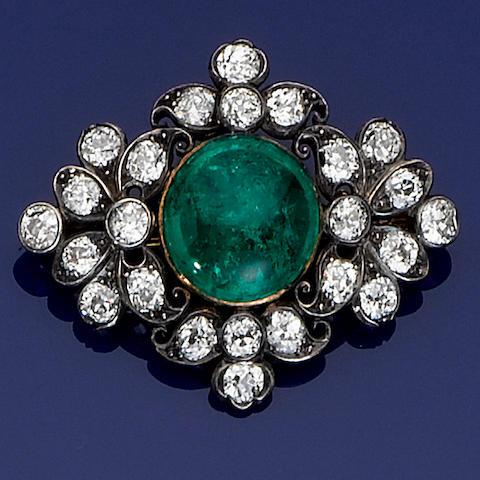 A late 19th century cabochon emerald and diamond brooch/pendant