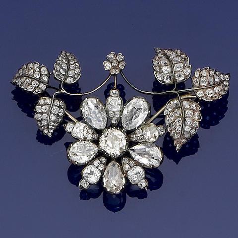 A mid 19th century diamond brooch,