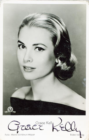 A collection of five autographs, including Grace Kelly autographed promotional postcard and Elvis Presley on small paper cutting,