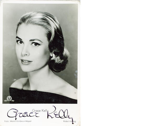 A collection of six autographed photographs of film stars, including Grace Kelly and Elvis Presley.