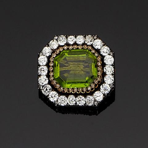 A late 19th century peridot and diamond brooch,