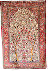 A silk Kashan pictorial rug Central Persia, 6 ft 5 in x 4 ft 3 in (195 x 129 cm) some wear