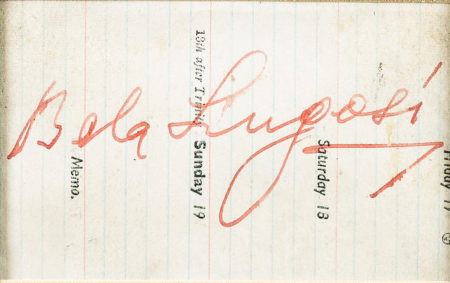 Two Dracula, 1931 related autographs, Bela Lugosi and Helen Chandler,