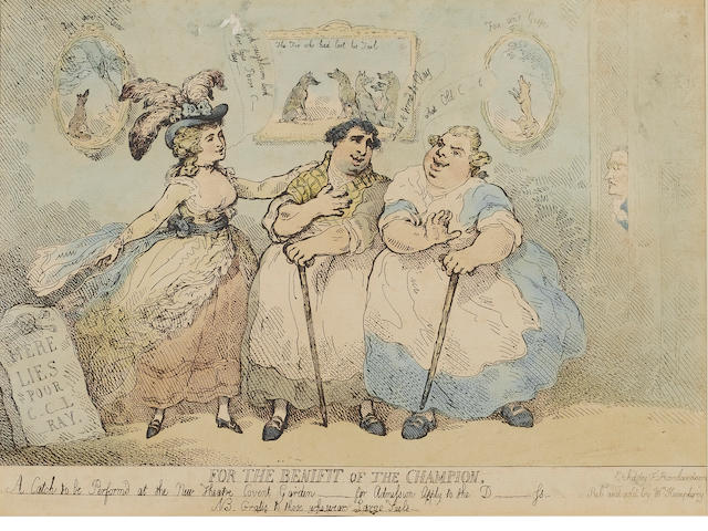 Charles James Fox (1749-1806); Georgiana Spencer, Duchess of Devonshire (1757-1806); King George IV (1762-1830) 'For the Benifit of the Champion, A Catch to be performed at the New Theatre Covent Garden - for Admission Apply to the D----ss - NB. Gratis to those who wear Large Tails' by Thomas Rowlandson (British, (1756â0131823)