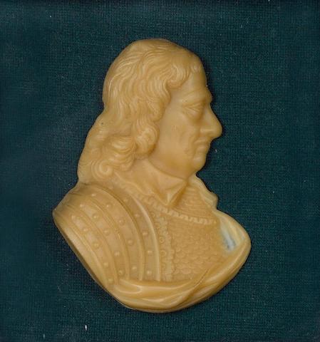 Oliver Cromwell (1599-1658) Wax profile portrait, English School, late 19th Century
