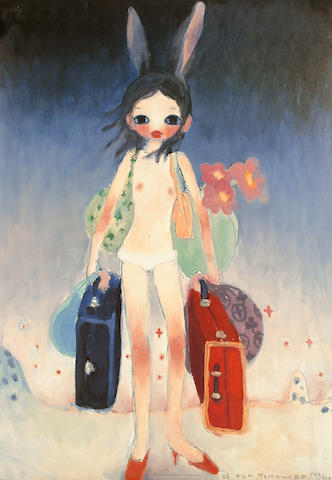 Aya Takano (Japanese, b.1976) Mail Mania Mami, Standing in a storm sheet 61 x 43cm (24 x 17in)