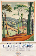 "Ethelbert White (British, 1891-1972) Live in Kent and be Content & Live in Surrey Free from Worry 1926, for Southern Railway Advertising, printed by Sander, Phillips and Co., Ltd., the Baynard Press, 1010 x 635mm (39 3/4 x 25in)(SH). With another by the same hand ""All things above were bright and fair...."" Longfellow, 1010 x 635mm (39 3/4 x 25in)(average SH)(condition A/B) 3"